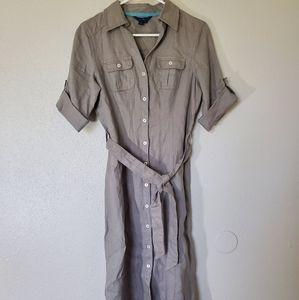 Boden linen cuffed sleeve short button up dress
